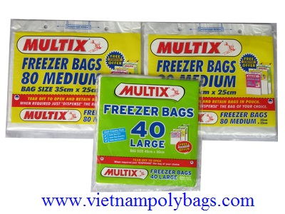 Blockheaded plastic poly bags