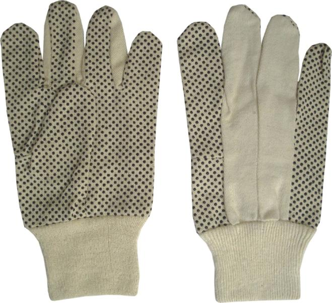 Cotton Drill PVC Dotted Gloves